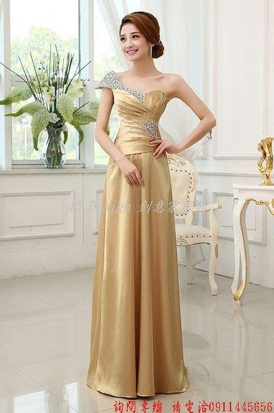 (45 Design) 定做  7天到貨  新娘結婚婚紗禮服敬酒服長款禮服單肩紫色晚禮服lifu