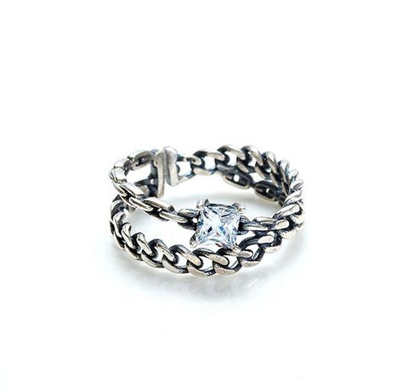 正韓鍊型交叉單方鑽純銀戒指~夏綠蒂didi-shop
