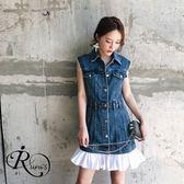 復古高腰無袖牛仔裙拼接假兩件連衣裙 (RT0077-PQ59881) iRurus 路絲時尚