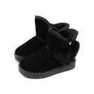 小女生鞋 雪靴 短靴 黑色 童鞋 8681-99 no044