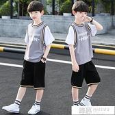 兒童裝男童夏裝套裝2021新款帥氣夏季韓版男孩短袖籃球服洋氣潮衣 夏季新品