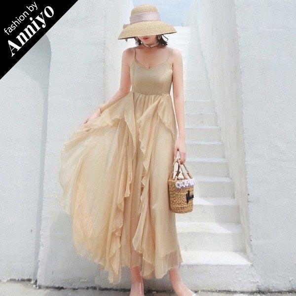 Anniyo安妞‧春夏波西米亞細肩帶多層荷葉邊裙襬高腰修身顯瘦雪紡海邊度假長裙沙灘裙長洋裝 杏色