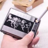 20支裝usb充電煙盒打火機便攜式純金屬煙盒男士兩用禮品煙盒定制 金曼麗莎