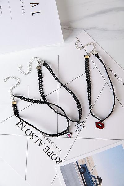 Qmigirl 韓版甜美鑽石閃電嘴唇項圈短款頸鍊項鍊【QG2193】