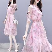 2021新款女裝韓版氣質流行名媛收腰顯瘦碎花雪紡連衣裙女夏裝超仙 依凡卡時尚