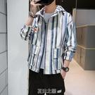男士外套韓版潮流帥氣休閒運動男裝新款秋季寬松條紋百搭夾克 快速出貨