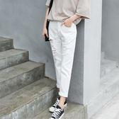 哈倫褲女牛仔褲破洞九分褲寬鬆女褲高腰薄款bf風白色褲子 森雅誠品