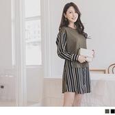 《DA7365》假兩件條紋襯衫拼接洋裝/長上衣 OrangeBear
