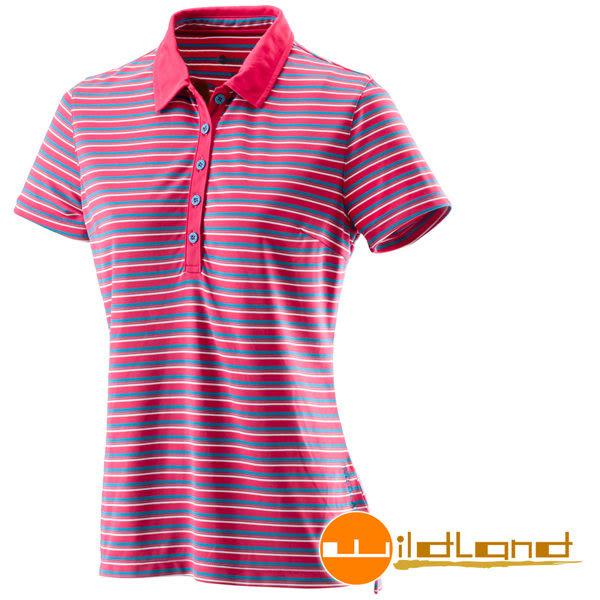 【山水網路商城】Wildland 荒野 女 涼感紗抗UV條紋上衣 抗紫外線/彈性纖維/吸濕排汗 0A21601-09桃紅色