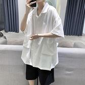 棉麻襯衫 夏季棉麻短袖襯衫男港風寬鬆韓版潮流百搭bf中國風亞麻五分袖襯衣 歐歐