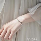手鍊 純銀月光石枝條抽拉手鍊小眾設計森系女手繩漸凍人閨蜜