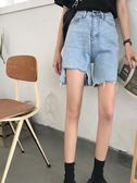 五分牛仔褲 夏季韓版闊腿褲牛仔褲五分短褲女寬鬆直筒褲休閒褲高腰顯瘦休閒褲 小宅女