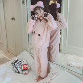 兒童秋冬季法蘭絨睡衣女童寶寶男童家居服小孩加厚男孩珊瑚絨套裝-ifashion