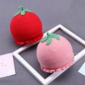 草莓造型雙層針織保暖帽 帽子 童帽 針織帽