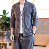 夏季男裝短袖改良漢服男大碼唐裝復古青年古風亞麻套裝 魔法街