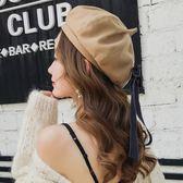 帽子女秋天日繫甜美百搭絲帶蝴蝶結羊毛貝雷帽韓版潮時尚八角帽優家小鋪