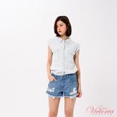 Victoria 雙口袋落肩短袖襯衫-女-V75080