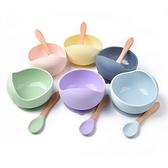 寶寶矽膠餐碗組 吸盤碗 附木柄匙 學習餐具 RXL0501 好娃娃