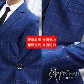西裝外套  男士西服外套青少年韓版修身小西裝學生休閑西裝套裝結婚正裝格子