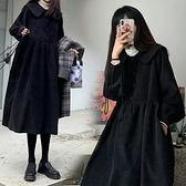 大碼洋裝 秋冬女裝年胖mm顯瘦減齡洋氣質法式長袖黑色連身裙子大碼 芊墨 618大促
