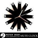 設計師款時鐘 葉片配立體數字造型 鏡面壓克力材質靜音掛鐘 北歐風格 時尚裝飾時鐘-米鹿家居