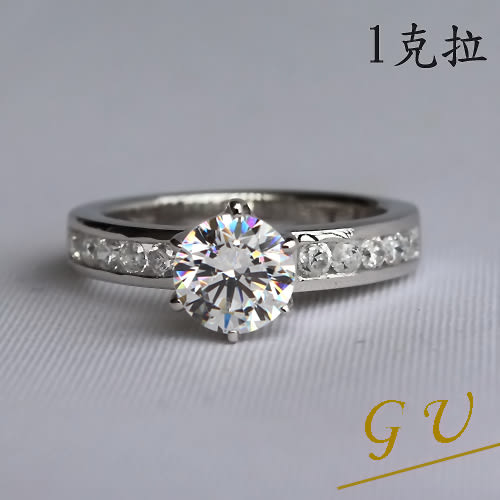 【GU鑽石】A10擬真鑽生日禮物 求婚戒指結婚戒指銀戒指鋯石戒指 GresUnic Apromiz 1克拉鑽戒