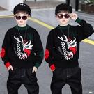 男童毛衣套頭衫印花上衣 洋氣男童秋冬保暖打底衫 寬鬆男中大童針織衫 長袖男孩潮牌韓版毛衣