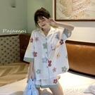 夏天寬鬆家居服套裝女夏季新款短袖冰絲睡衣女夏ins風兩件套 夏季新品