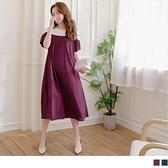 《MA0297-》撞色拼接造型壓褶後釦高含棉孕婦洋裝 OB嚴選