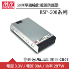 MW明緯 RSP-500-3.3 3.3V單組輸出電源供應器(500W)