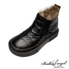 雪靴 防潑水金屬面菱格保暖雪靴(黑)*BalletAngel【18-168bk】【現+預】