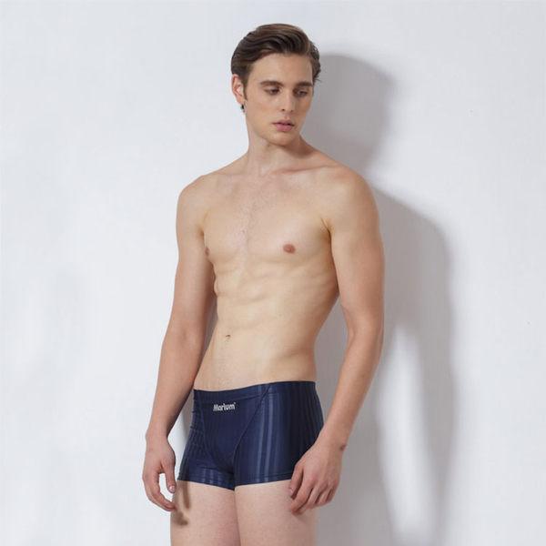 ≡MARIUM≡ 大男競賽型平口褲─深藍色/壓條 MAR-4117