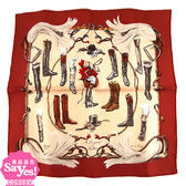 【奢華時尚】HERMES 棗紅色長筒馬靴印刷43公分方形絲巾領巾(盒裝)(九五成新)#23312