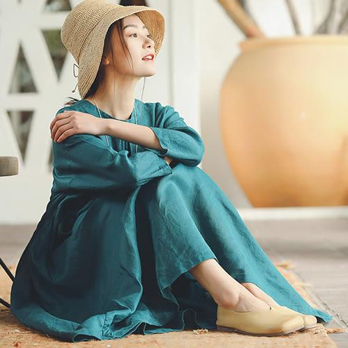 洋裝-兩面穿雀藍亞麻/設計家 SQ369