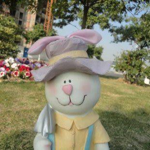 田園飾品樹脂生肖動物擺件兔子吉祥物兔年禮品園藝小品仿真兔