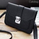 簡單設計Basis多層皮紋斜背包可放5.5吋手機-62420807