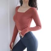 運動上衣女性感露臍瑜伽服T恤速干彈力緊身衣跑步訓練健身長袖秋 koko時裝店