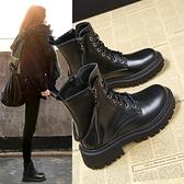 馬丁靴 2021新款顯腳小馬丁靴女鞋子潮春季加絨百搭瘦瘦英倫風短靴【快速出貨八折優惠】