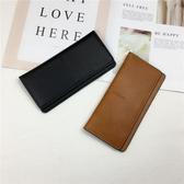 快速出貨 錢包女長版 歐美簡約超薄錢夾時尚復古純色搭扣長卡包