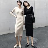 2020秋法式復古v領修身針織打底裙坑條中長款氣質顯瘦長袖洋裝 【新年狂歡購】