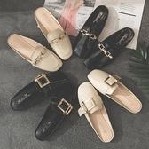 網紅涼拖女春時尚外穿新款包頭半拖鞋懶人平底無後跟穆勒鞋子「艾瑞斯居家生活」