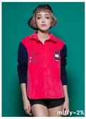 【2%】 miffy X 2% 米飛燈心絨撞色襯衫_桃紅