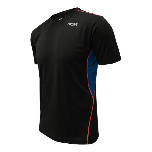 吸濕排汗衣 運動短袖T恤 極致輕量 NCAA(黑色拼接款)
