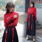 古裝武俠風漢服女 漢元素中國風日常改良畢業照班服交領傳統套裝 陽光好物