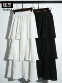 層層蛋糕裙半身裙女夏新款超火的裙子雪紡白色百褶中長裙【免運快速】