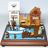 【WT16122305】 手製DIY小屋 手工拼裝房屋模型建築 含展示盒-童趣小鎮