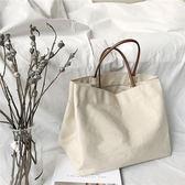 韓國chic風休閒單肩包文藝簡約手提布包購物袋帆布包 - X-652