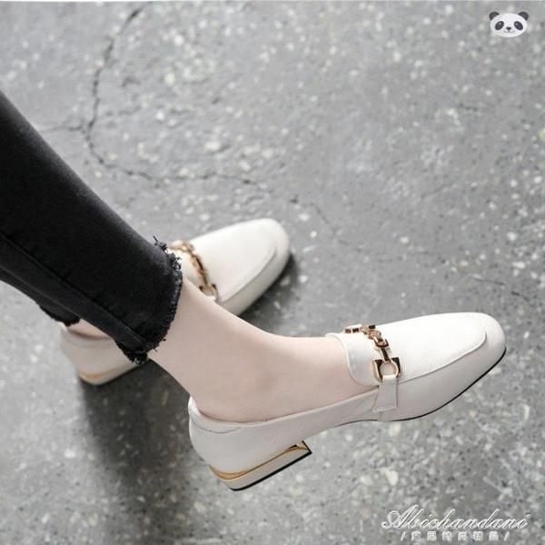 軟皮樂福鞋女一腳蹬2020春款百搭方頭粗跟單鞋淺口平底英倫小皮鞋 黛尼時尚精品