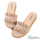 拖鞋 甜美荷葉邊絨布平底拖鞋-米