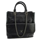 【奢華時尚】CHANEL 黑色菱格紋牛皮復古銀鍊手提後背兩用包(八八成新)#25332
